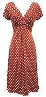 New Ladies Blue Deco Polka Dot Vtg Retro WW2 Landgirl 1940s/50s Pin-up Tea Dress