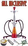 "Aladin ""Origins"" Havanna, 4-Schlauch Shisha, 77 cm - Geschenk-Set mit Three Kings Kohle & Shiazo (Rot-Orange)"