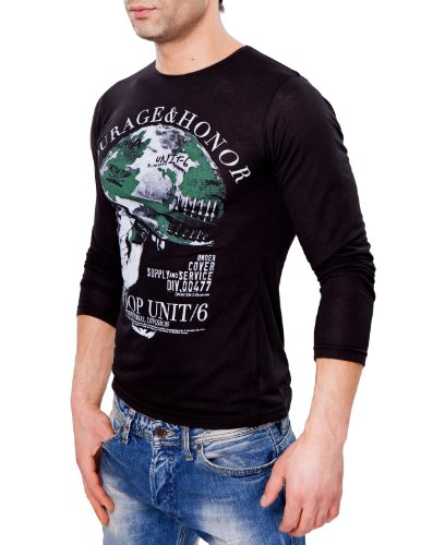 24brands CHICK REBELLE - Herren Longsleeve Slim Fit - 2342 Schwarz ...