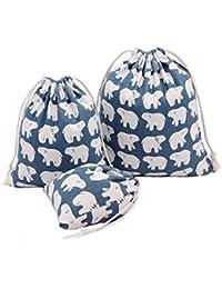 Amoyie Lot de 3 organiseurs de bagage petit, sacs-cadeaux kawaii, personnalisés avec cordon de serrage, sac de cotonnade, sac a linge sale bébé, trousses pour voyage scolaire cosmétique jouet, pochette organza