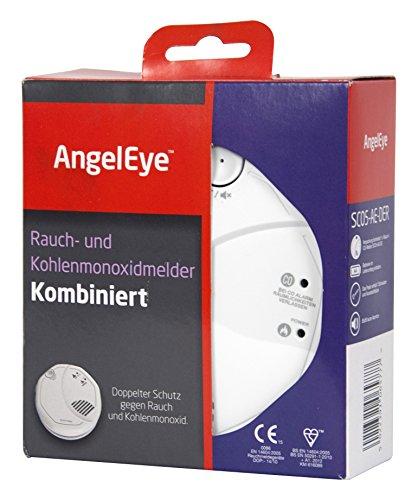 AngelEye Batteriebetriebener Rauch- und Kohlenmonoxidmelder für die Anwendung in privaten Wohnbereichen, 1 Stück, weiß, SCO5-AE-DER