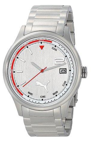 PUMA Motorsport PU102731005 - Reloj analógico de cuarzo unisex con correa de acero inoxidable, color plateado