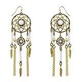 Lux Accessories White Navajo Dream Catcher Dangle Earrings