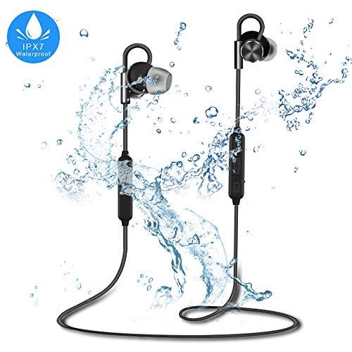 Alwup auricolari bluetooth, bluetooth 4.1 ipx7 impermeabile wireless cuffie, noise cancelling auricolari sportivi senza fili per palestra viaggiare con microfono per iphone, samsung, huawei e altro