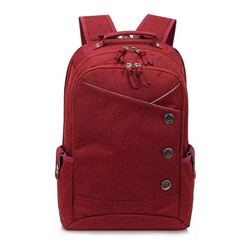 kingslong 39,6cm Langlebig Leinen Notebook Rucksack Große Kapazität Casual Tagesrucksack rot rot -