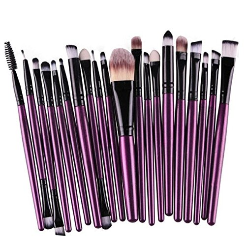 IMJONO Professional 20 pièces Maquillage Set de Brosse Maquillage Kit de Toilette Set de Brosse de Maquillage Longue section Manche en bois(Violet)