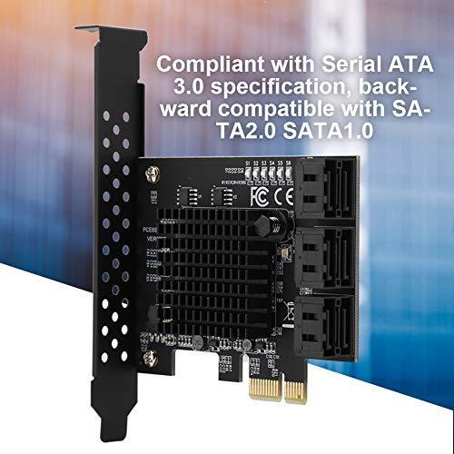 Tonysa 6-Port PCI Express Karte, SATA 3.0 PCI-e Erweiterungscontroller, PCI Express Riser Karte für SATA6G 3G 1.5G HDD, Kompatibel mit WinXP/7/8/10/Linux mit 6 SATA3.0 Schnittstellen -