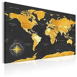 murando englische Weltkarte Pinnwand & Vlies Leinwand Bild 120x80 cm XXL Bilder mit Kork Rückwand Set mit 50 Markierfähnchen-Pinnnadeln Korktafel Kunstdruck Wandbilder Lernkarte Landkarte k-A-0130-p-a