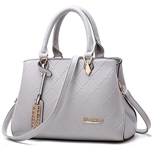 (G-AVERIL)Damen Handtaschen Fashion Handtaschen für Frauen PU Leder Schulter Taschen Messenger Tote Taschen Grau - Slipknot Messenger Bag