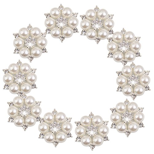 28mm Perle (Phenovo Kristall Perlen Blumen knopf Dekoration DIY 10 Stk. 28mm Beige)