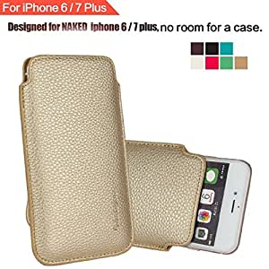 IPhone 6 6S Plus 5.5 Sleeve , [ Minimalism ] Elastic Pull Strap , Synthetic Leather Protective Sleeve Pouch Cover Case , Professional Executive Case Design . - Gold