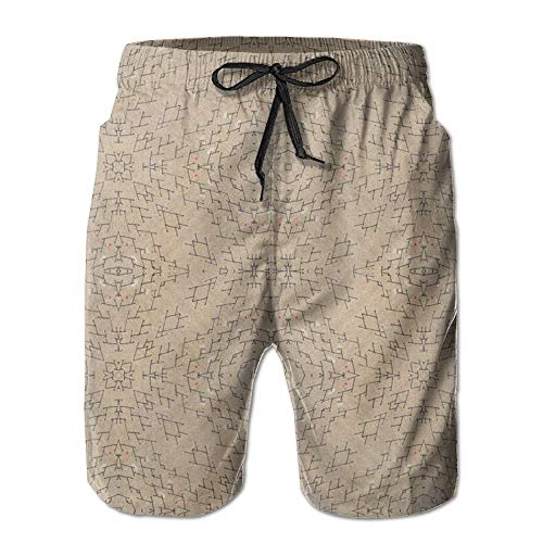 Men's Summer Beachwear Quick Dry Board Shorts Casual Athletic Beach Surfing Shorts for Burlap Tread Fabric (2948) Pattern (XL)