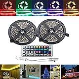 Tradico® 10M SMD5050 Waterproof RGB 600 LED Strip Flexible Rope Tape Light Kit + 44 Keys IR Controller DC12V One Piece