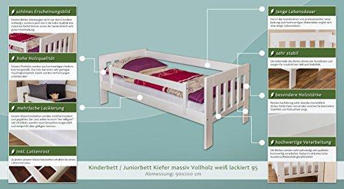 Kinderbett / Juniorbett Kiefer massiv Vollholz weiß lackiert 95, inkl. Lattenrost - 90 x 200 cm (B x L) - 2