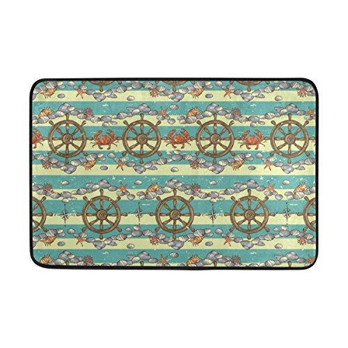 Coosun nautischen Hintergrund Marine Muster Fußmatte, Eintrag Weg Indoor Outdoor Tür Teppich mit rutschfesten Rücken, (23,6 von 15,7-Zoll) (Marine-indoor-outdoor-teppich)