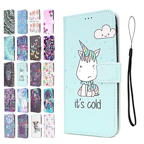 ANCASE Lederhülle kompatibel für Apple iPhone 6 6s Hülle Einhorn Muster Handyhülle Flip Case...