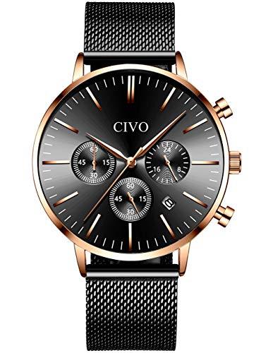 CIVO Orologio Uomo Cronografo Multifunzione Impermeabile Nero Blu Moda...