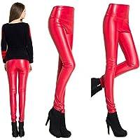 Juleya Mujeres flacas del l¨¢piz de las polainas de cuero delgado Faux Pantalones Pantalones Mujer gruesa lana C51