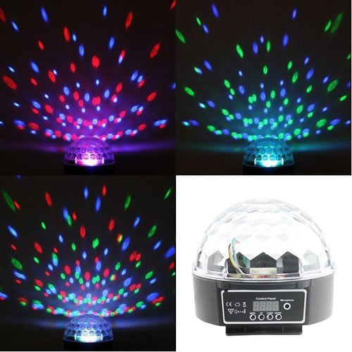 Lightahead® Rotating Strobe Disco Stage LED RGB DMX512 Crystal Magic Effect Dot Light Ball (Black) Test