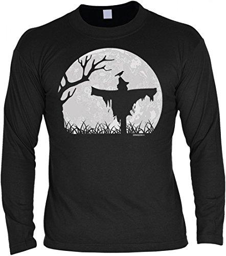 Herren Langarmshirt zu Halloween - Vogelscheuche und Vollmond - Longsleeve als coole Geschenk-Idee in Farbe: Schwarz, (Vogelscheuche Outfit Ideen)