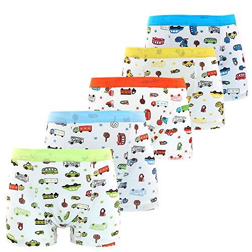 Espoy 5er Pack Kinder Jungen Boxershorts Junge Boxer Unterhose Unterwäsche Mikrofaser Slips Schlüpfer Auto-Muster 1-9 Jahre 68-128