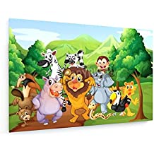 Groupe d'animaux à la jungle - 45x30 cm - Impression sur toile textile - weewado - Art mural - Artiste