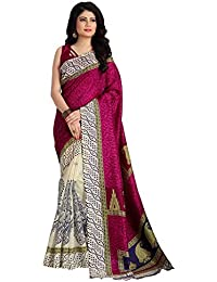 Venisa Women's Bhagalpuri Cotton Silk Saree With Blouse Piece (Vprv5002,Multicolor,Free Size)