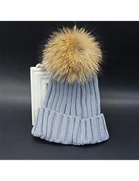 Mujer invierno Gorra holgados Beanie Raccoon Fur Pom lana tejida Tapa de esquí tejer boina Gris claro