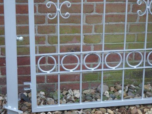 Hoftor Gartentor Pforte Tor silber mit Spitzen Breite 100cm x Höhe 150cm