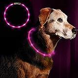 Z-overlord Blinkender LED Hundehalsband, LED Leuchthalsband USB wiederaufladbar Längenverstellbar- Haustier Sicherheit Kragen für Hunde und Katzen- 3 Modus 12 Lichte (Pink)