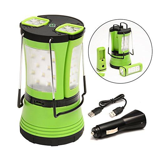 Preisvergleich Produktbild Lunsy LED Wasserdichte Camping Laterne Notlicht Zeltleuchte mit 2 abnehmbare Mini Taschenlampe und Kompass für Wandern, Camping und Notfall Outdoor, mit USB-Kabel und KFZ-Ladegerät