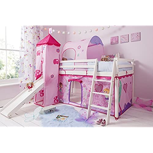 cabin bed mid sleeper in white with fairy tent tower tunnel 70 wg fairies - Princess Bed
