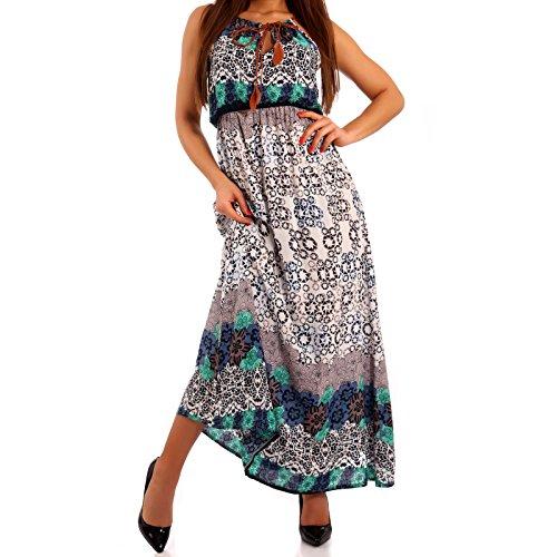 Damen Maxikleid Kleid mit Träger Allover Print Weiß/Blau