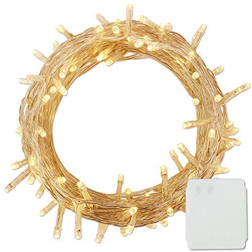 Lichterkette Kette Batteriebetrieben Leuchte Beleuchtung für Weihnachtsbaum, Garten, Party Innen und Außen Dekoration(Warmweiß, 100 LEDS) ()
