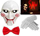 Adult Unisex Halloween Billy The Puppet Saw Terror Theme PVC Mask White Gloves & Red Bow Tie Crazy Killer Demon Chainsaw