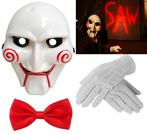 en Billy The Puppet Saw Terror Theme PVC Mask White Gloves & Red Bow Tie Crazy Killer Demon Chainsaw Massacre Cosplay Costume Accessories (Mega_Jumble) by Mega_Jumble (Saw Puppet)