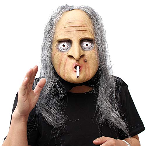 tige Parodie Maske Langes Haar Unheimlich Vollgesichts Atmungsaktive Halloween Maske Schreckliche Witz Maske Kostüm Alter Mann Maske ()