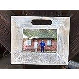 Bilderrahmen weiß 13x18 cm aus Holz von alter Obstkiste handgemacht. Geschenk für Hochzeit, Taufe, Kommunion, Geburtstag, Weihnachten, Konfirmation, Muttertag etc.