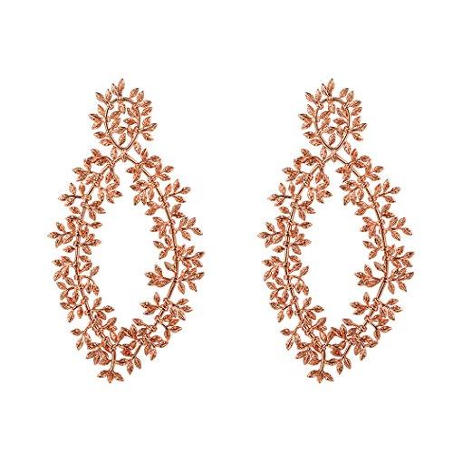 Suplight Ast Zweig Blätter Design Ohrstecker Rosegold überzogen Statement Ohrringe Ear Studs Elegant Ohrschmuck für Mädchen Frauen Hochzeit Party Geburtstag Geschenk (Ohrringe Statement Stud)