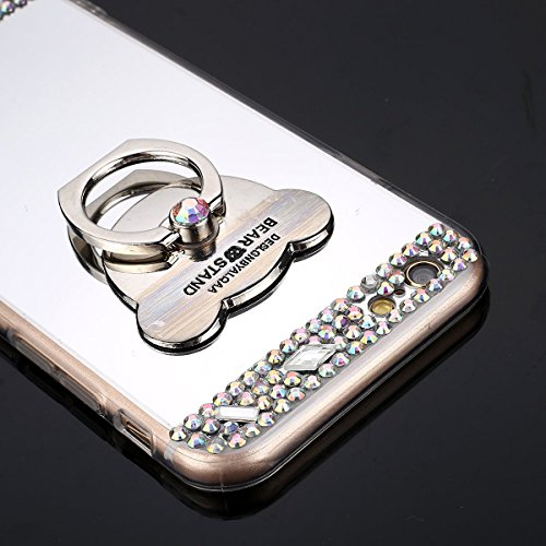 iPhone 6/6S (4.7 inch) Miroir Cover Case,iPhone 6/6S (4.7 inch) Case Glitter,Hpory Beau élégant Luxury Ultra Thin Soft TPU Gel Silicone Cristal Clair Bling Brillant Miroir Placage Ours Bling Glitter R Diamant,Silver
