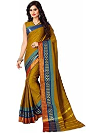 Miraan Women's Cotton Printed Saree With Blouse Piece - Namovedabrown_Brown_Free Size