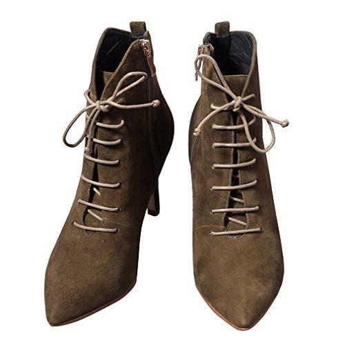ENMAYER Femmes Talons hauts Chaussures à lacets pour les femmes Bottes à cheville Stiletto Armée verte