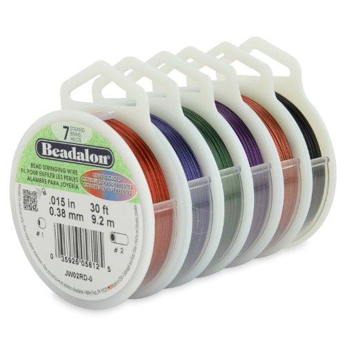 Beadalon Perlensaitendraht, 7 Stränge, 0,9 cm, verschiedene Farben, 6 Stück (Beadalon 7 Strang)