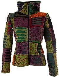Vishes – alternative Bekleidung - Stonewash Patchwork Zipfelkapuzenjacke – Unikat