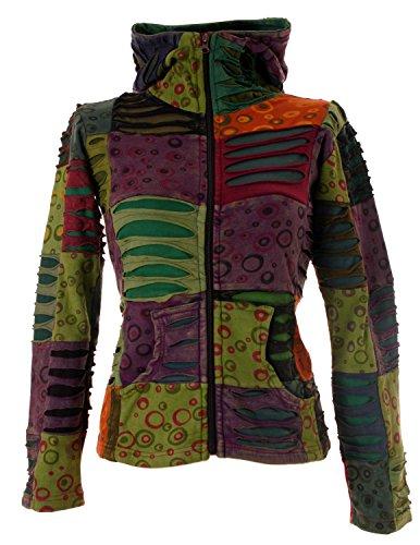 Vishes - Alternative Bekleidung - Stonewash Patchwork Zipfelkapuzenjacke - Unikat Herbsttöne2 36 (S) -