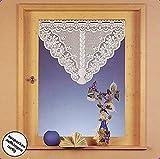Scheibengardine Fensterbild Jacquard Dreieck gebogt mit Blumen HxB 60x100 cm in weiß Gardine Typ125
