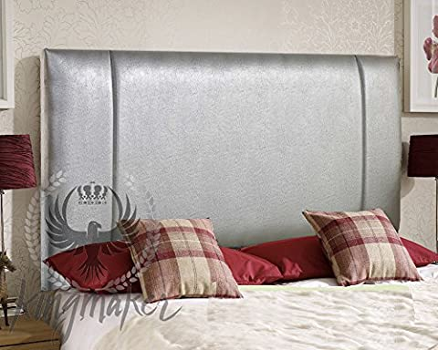 KingMakers Faux Leather Portobello Headboard 5FT (5') King Size - Choice of 13 Colours (Silver Grey) - 26