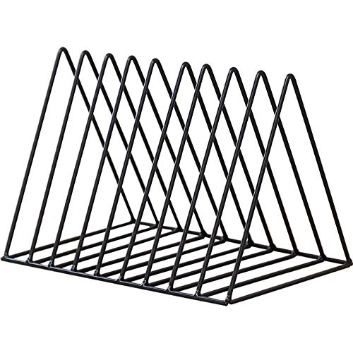 HYwot Nordic Dreieck Bücherregal, Einfache Schmiedeeisen Desktop Storage Rack Bücherregal Dokumente Magazin Aufbewahrungsbox Office Racks Schmuck,Black -