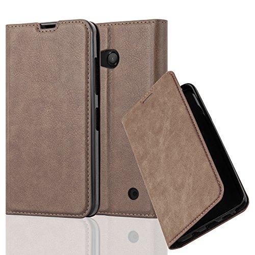 Cadorabo Hülle für Nokia Lumia 550 - Hülle in Kaffee BRAUN – Handyhülle mit Magnetverschluss, Standfunktion und Kartenfach - Case Cover Schutzhülle Etui Tasche Book Klapp Style
