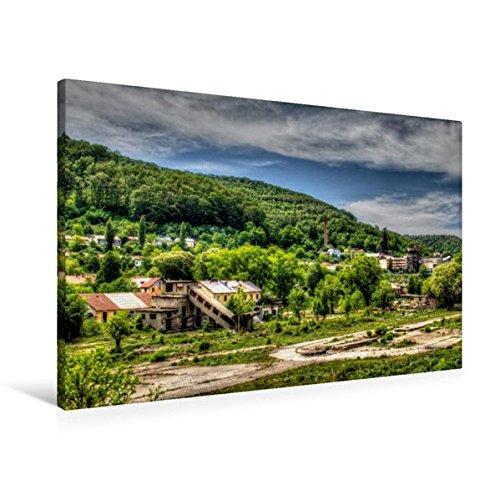 Premium Textil-Leinwand 90 cm x 60 cm quer, Stahlwerksgelände | Wandbild, Bild auf Keilrahmen, Fertigbild auf echter Leinwand, Leinwanddruck (CALVENDO Orte)